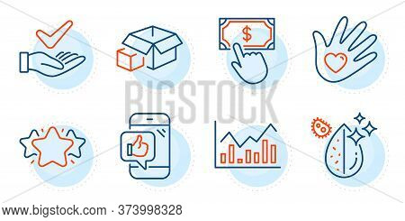 Mobile Like, Dirty Water And Payment Click Signs. Star, Dermatologically Tested And Packing Boxes Li
