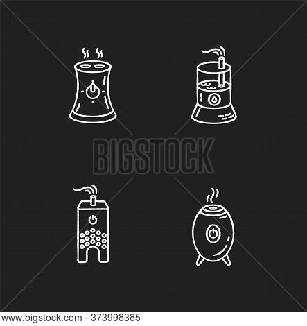 Water Evaporators Chalk White Icons Set On Black Background. Air Humidifiers, Climate Control Househ