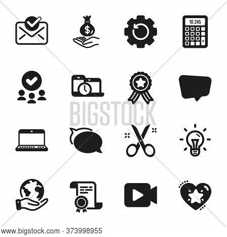 Set Of Education Icons, Such As Talk Bubble, Recovery Gear. Certificate, Approved Group, Save Planet