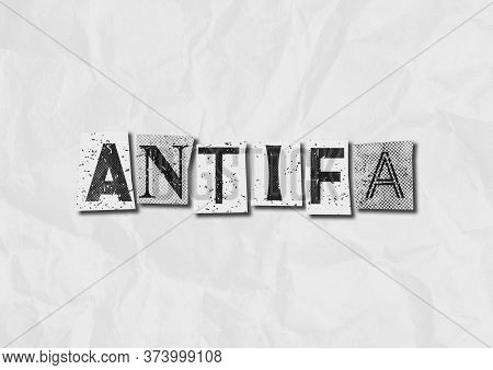A Black And White Text Collage Graphic Illustration On The Concept Of Antifa, Anti Fascist Protestor