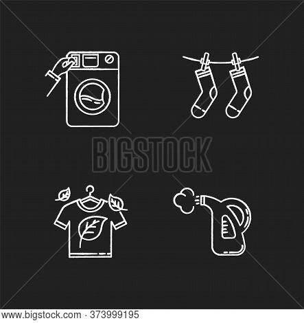 Washing Clothes Chalk White Icons Set On Black Background. Washateria, Coin Laundry And Steam Cleani