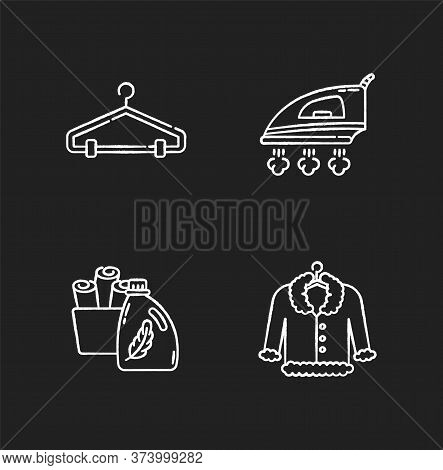 Laundry, Clothes Care Chalk White Icons Set On Black Background. Delicate Fur Dry Cleaning And Ironi