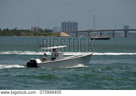Open Sport Fishing Boat With Canopied Center Console On The Florida Intra-coastal Waterway Off Miami