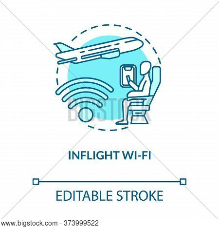 Inflight Wifi Turquoise Concept Icon. Airplane Service. Internet Onboard. Free Wireless Coverage. Ro