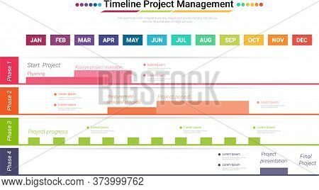 Project Timeline Graph For 12 Months, 1 Year, All Month Planner Design And Presentation Business Pro