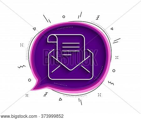 Mail Newsletter Line Icon. Chat Bubble With Shadow. Read Message Correspondence Sign. E-mail Symbol.