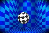 Checked blue room with flying 3D ball poster