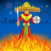 illustration of Raavan Dahan for Dusshera celebration poster
