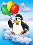 Penguin with balloons on iceberg - color illustration. poster