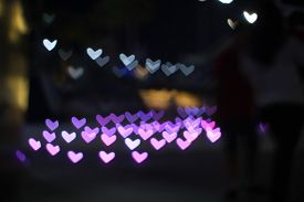 Pink Bokeh And Blur Heart Shape Love Valentine Colorful Night Light