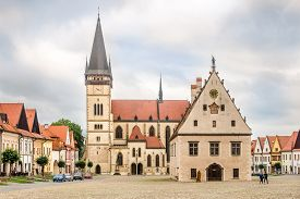 Bardejov,slovakia - June 9,2020 - View At The Town Hall Place With Basilica Of St.aegidius In Bardej