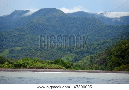 Landscape Of Mountains, Ocean And Tropical Nature