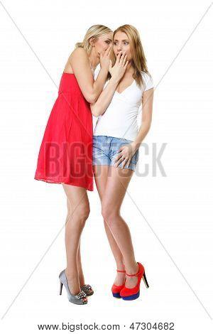 Gossiping Friends, Two Women Sharing A Secret