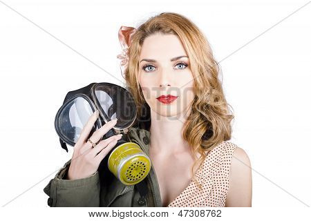 Cold War Pin-up Woman With Gasmask