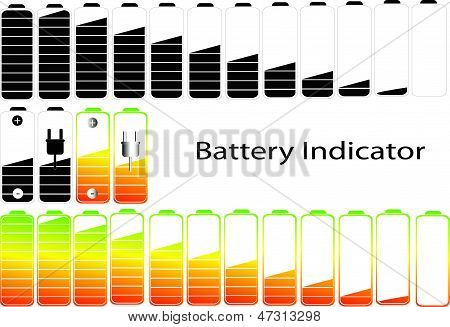 vector symbols of battery level indicator