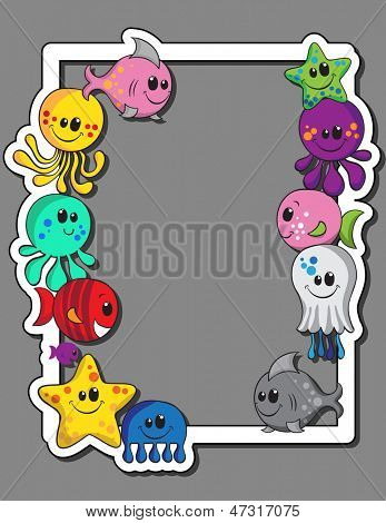Cute sea creatures photo frame poster