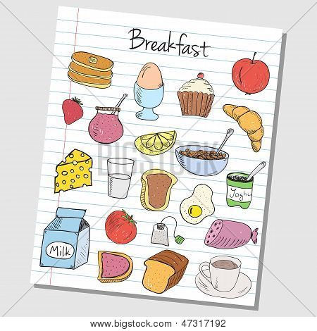 Breakfast Doodles - Lined Paper