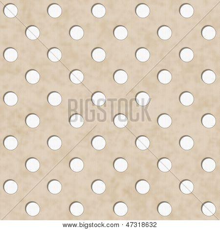 Ecru And White Polka Dot Fabric Background