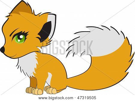 Cute cartoon fox. Vector