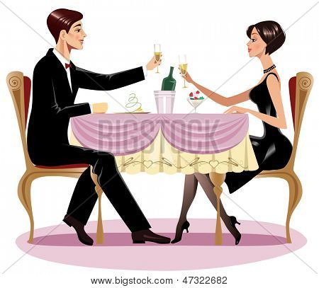 loving couple in restaurant