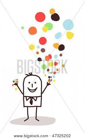 businessman and confetti