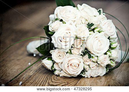 Vintage photo of white wedding bouquet