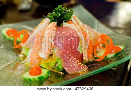 Set Of Fresh Raw Fishs , Sushi And Sashimi , Japanese Style Food