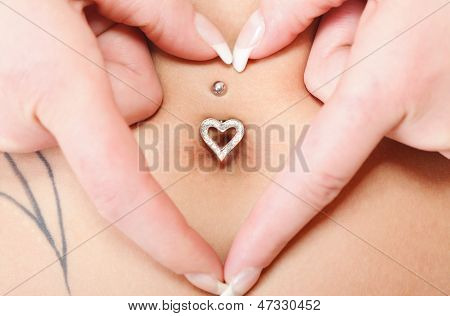 Hands Heart Symbol Around Navel Piercing