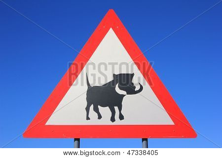 Road Sign - Watch out for Warthog crossing the road