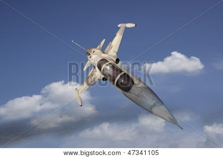military jet plane flying over white cloud