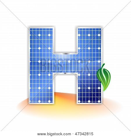 solar panels texture, alphabet capital letter H icon or symbol