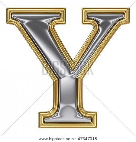 Metal silver and gold alphabet letter symbol - Y