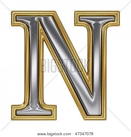 Metal silver and gold alphabet letter symbol - N