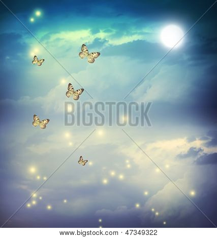 Butterflies In A Fantasy Moonligt Landscape