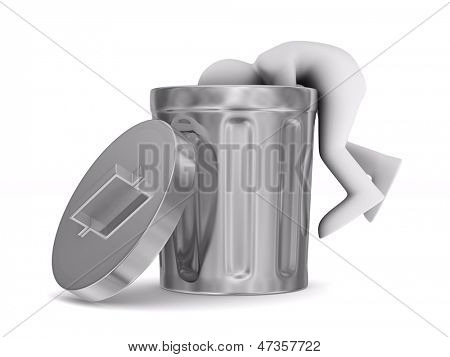 man searching in garbage container. Isolated 3D image