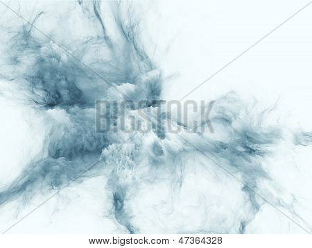 Interplay of bursting strands of fractal smoke and paint on the subject of design science technology and creativity poster