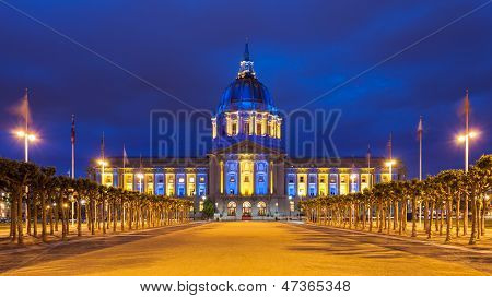 San Francisco City Hall In Blue And Gold