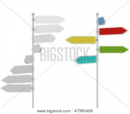 Road direction arrow sign post template isolated on white background with colored example.