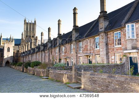 Vicars Close and Wells Cathedral Somerset, England