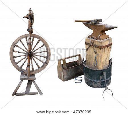 distaff spinning wheel anvil instruments metalwork