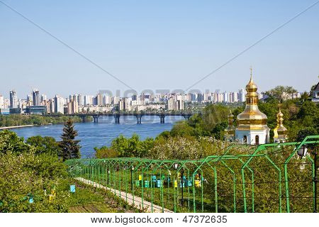 Kiev Pechersk Lavra Monastery And Dnieper River