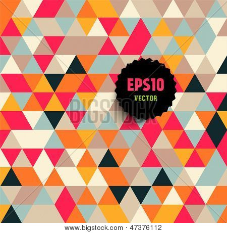 Abstract background made of triangles. Retro black label for design. Eps10 vector.
