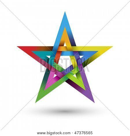 Colorful pentagram, vector illustration