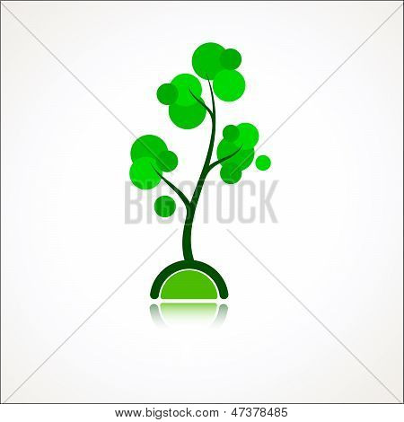 Design Element Cartoon Style Tree Icon