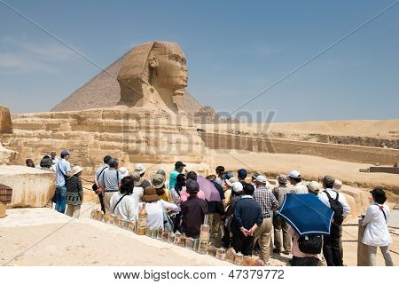 Famous ancient statue of Sphinx in Giza