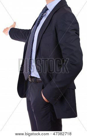 Business man with welcoming gesture.
