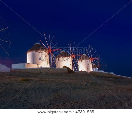 Mykonos Greece Windmill By Night Mykonos Island Greece Cyclades