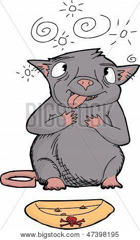 Cartoon of cross eyed rat choking on poison poster