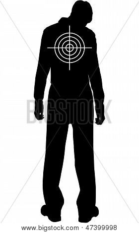 Silhouette Of Downcast Man With Target On His Back