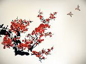 chinese ink paint of wintersweet and birds poster